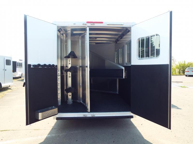 """2017 Exiss Escape 7306 6'6"""" SW 7'8"""" Tall - Electric Awning - Couch - Escape Door 3 Horse Living Quarters Trailer - Easy Care Flooring"""