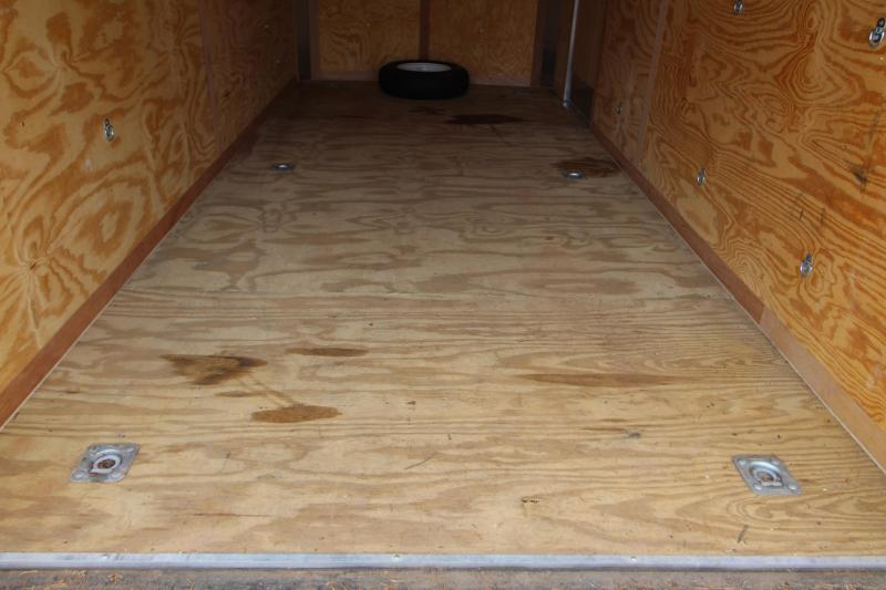 2013 RC Cargo Trailer 7x16 Enclosed White Cargo Trailer- Rear Ramp Door - Plywood Lined Interior