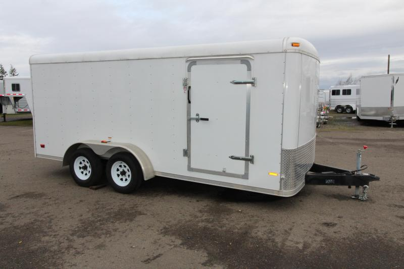 2013 RC Cargo Trailer 7x16 Enclosed White Cargo Trailer- Rear Ramp Door - Plywood Lined Interior