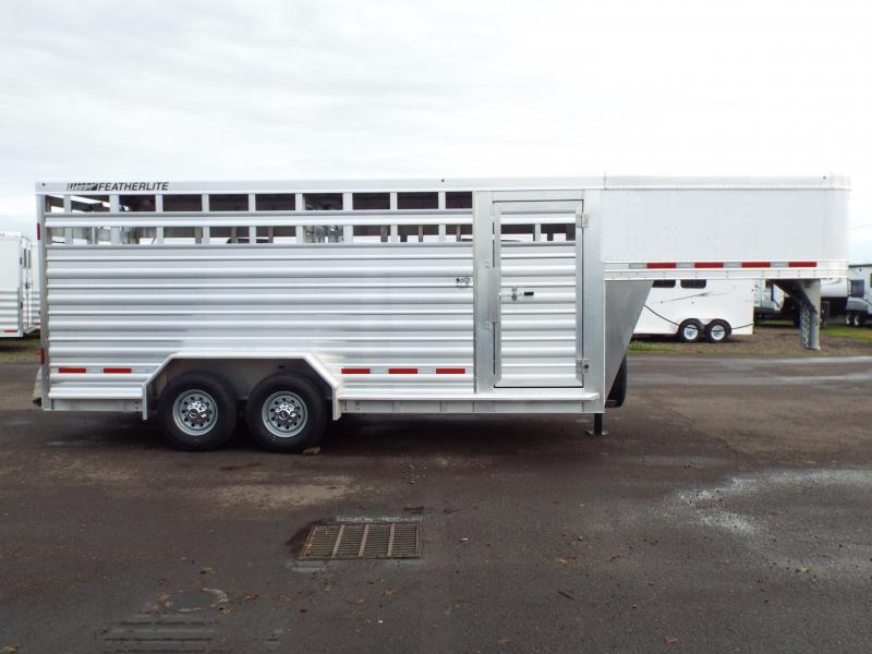 2017 Featherlite 8127 18' Aluminum 7' Wide and Tall -  Stock Trailer - Quiet Ride Flooring - Gooseneck Access Door!