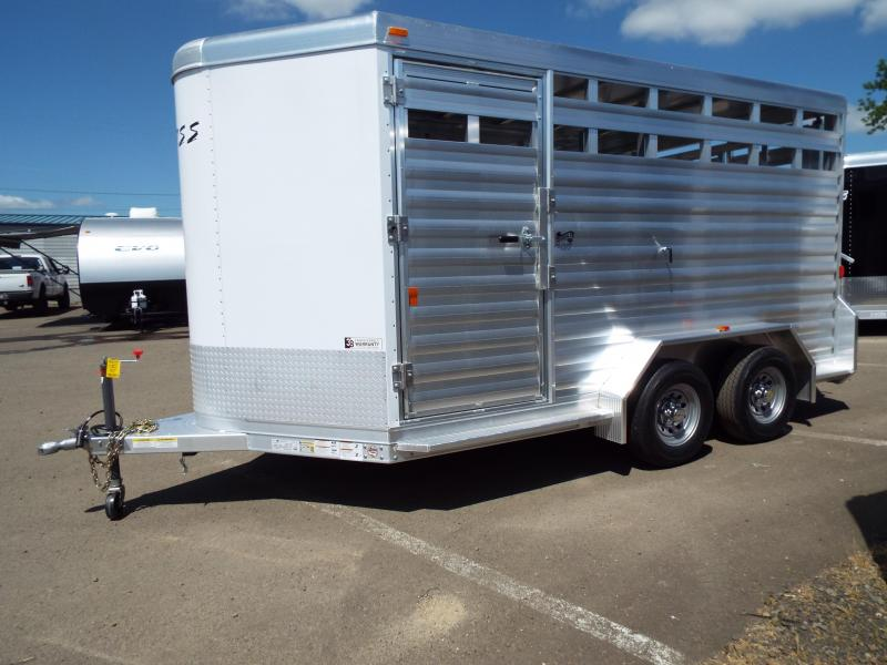 "2017 Exiss 713 - 13' Floor Length - All Aluminum Livestock Trailer - 7'2"" Tall - Solid Center Gate - Full Swing Rear Gate with Slider"