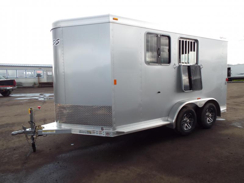 2017 Exiss 720 Bumper Pull 2 Horse All Aluminum Large Front Tack & Folding Rear Tack -Silver Exterior Siding