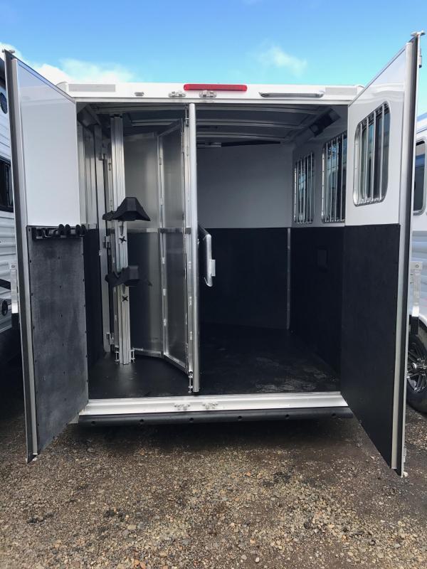2017 Exiss 720 Bumper Pull 2 Horse All Aluminum Large Front Tack & Folding Rear Tack -Silver Exterior Siding