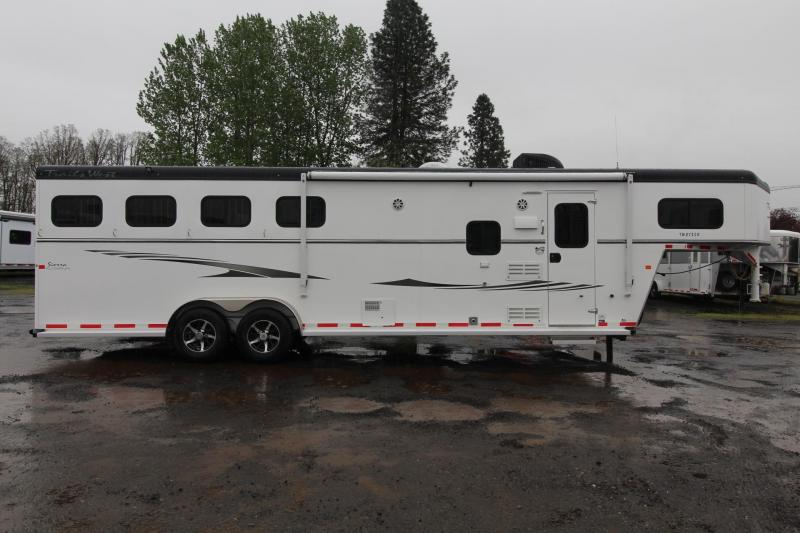 "2017 Trails West Sierra 8x13 -8' Short Wall- Slide Out - 7'6"" Tall - Hoof-Grip Easy Care Flooring - Mangers - Escape door 4 Horse LQ Trailer"