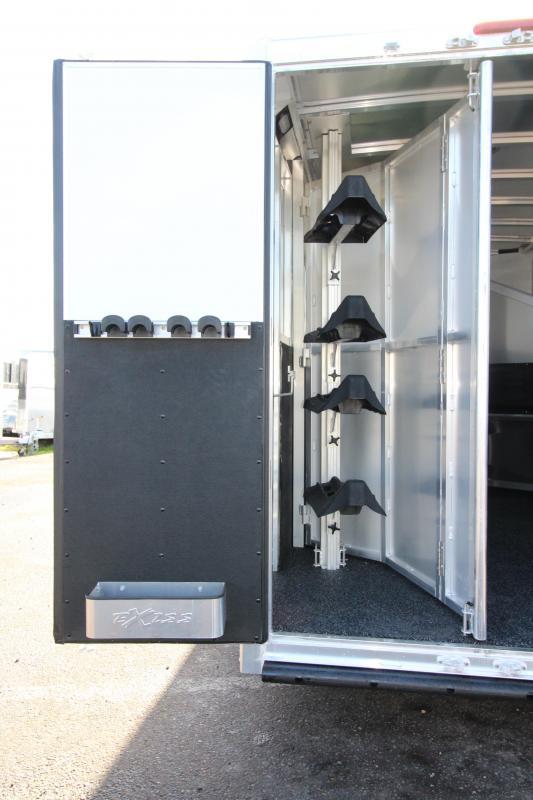 "2018 Exiss 7408 8'6"" SW LQ 4 Horse All Aluminum Trailer - 7'8"" Tall - Power Awning - Aluminum Wheels - Easy Care Flooring"