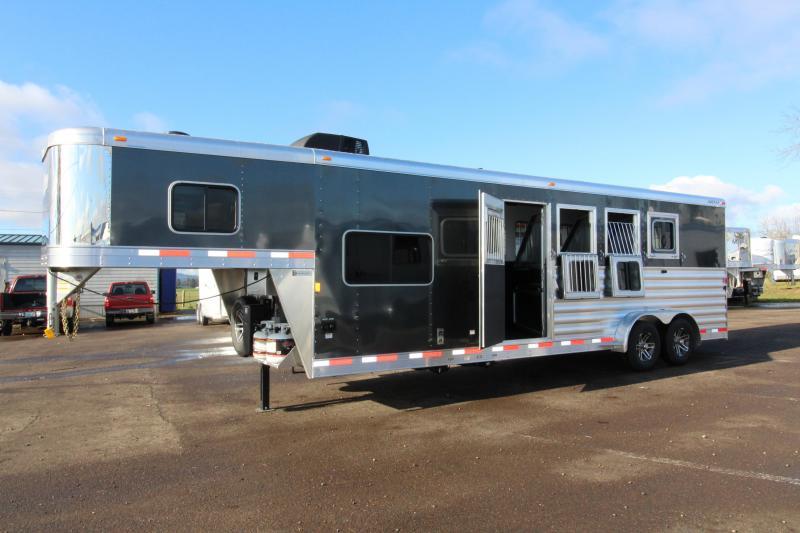 "2018 Exiss 7408 8'6"" SW LQ 4 Horse All Aluminum Trailer - 7'8"" Tall - Power Awning - Aluminum Wheels - Easy Care Flooring"
