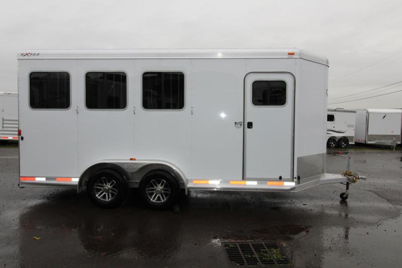 2018 Exiss 730 - 3 Horse All Aluminum Added Height- White Exterior - UPGRADED EASY CARE FLOORING Horse Trailer - Swing Out Saddle Rack - Escape Door - Air Flow Dividers - Stud Wall