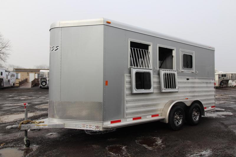 "2018 Exiss 730 - Polylast flooring - 7'6"" Tall - Extruded Sides - Upgraded Side Sheets -3 Horse Trailer W/ Rear Tack"