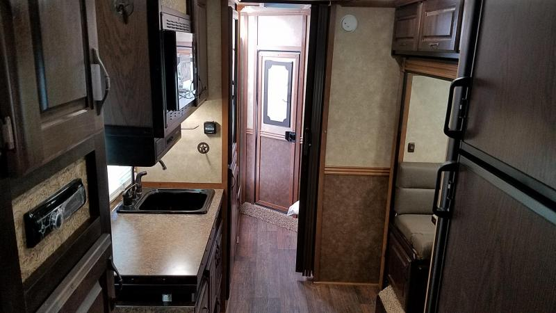 "2017 Trails West Sierra - LIKE NEW W/ WARRANTY- 7'6"" Tall 10x15 -Slide Out- Escape door - 8cft Fridge - Living Quarters 3 Horse Trailer W/ Easycare Flooring"