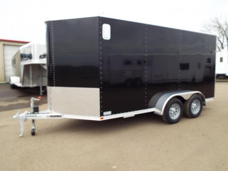 "2017 Featherlite 1610 Enclosed Cargo Trailer - All Aluminum - 7' Tall 6'7"" Wide- Sheet Black Siding - Rear Ramp Door"