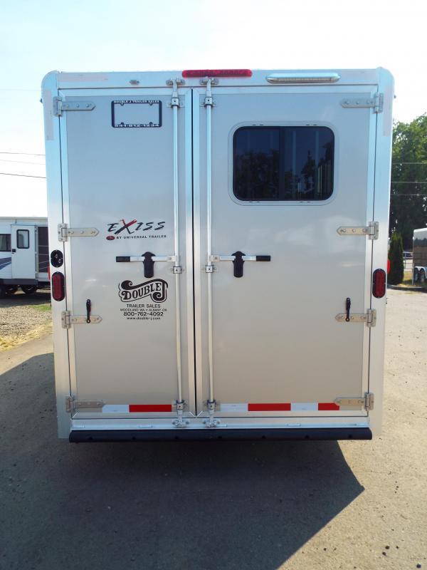 2018 Exiss 730 - 3 Horse All Aluminum - White Exterior - UPGRADED EASY CARE FLOORING Horse Trailer