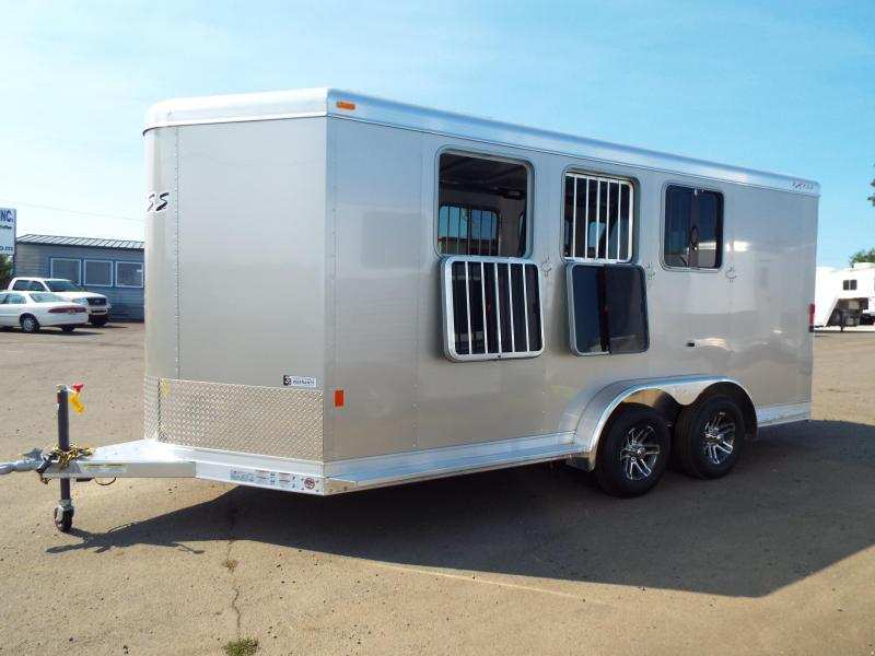 2018 Exiss 730 - 3 Horse All Aluminum - White Exterior - UPGRADED EASY CARE FLOORING Horse Trailer