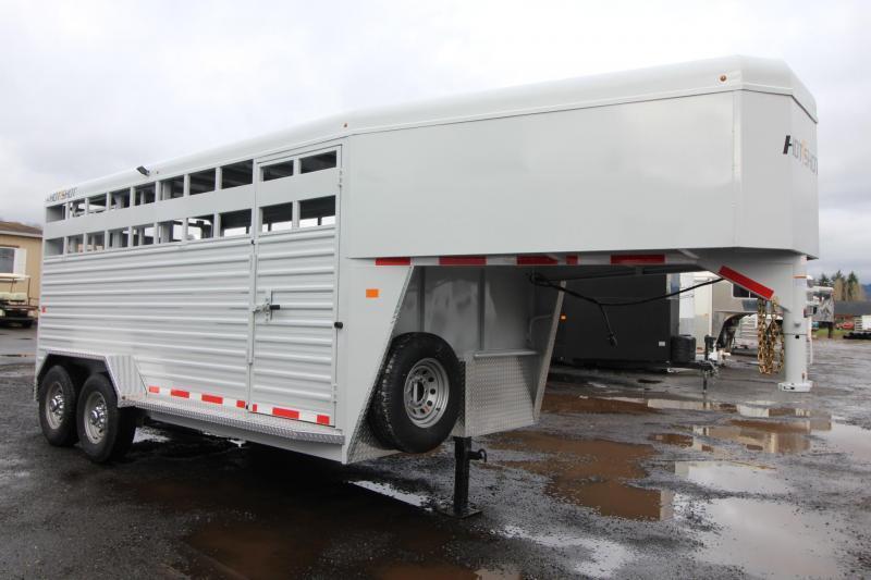 2018 Trails West Hotshot 16ft Steel Livestock Trailer - Aluminum Roof - Center Gate with Sort Door - 2 LED Load Lights