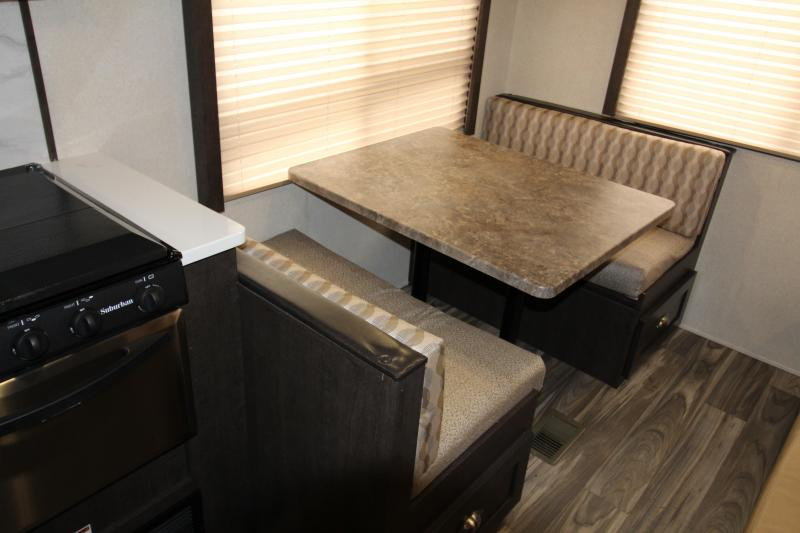 2018 Forest River EVO 2010 Travel Trailer - New Floorplan w/ Walk Around Queen Bed - Dinette and Sofa! - Golden Ash Interior Decor