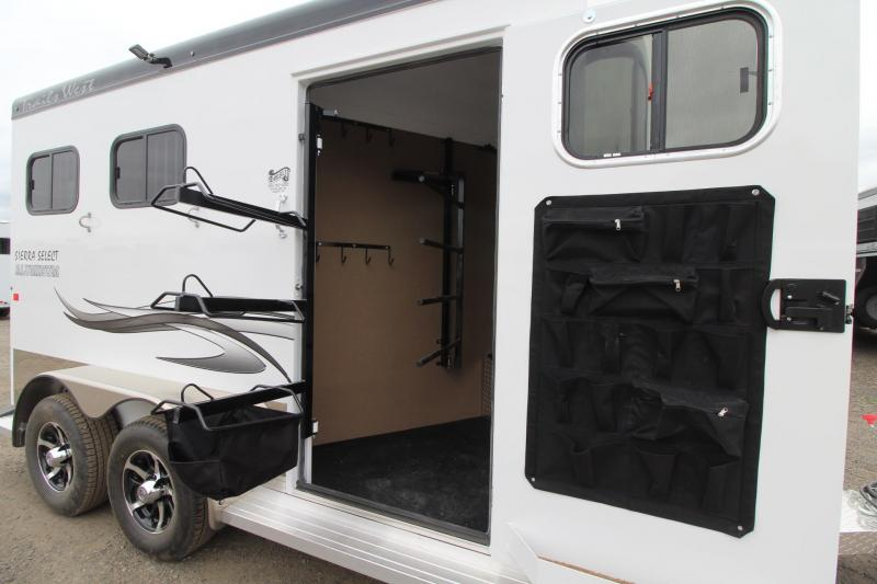 """2017 Trails West Sierra Select 7'6"""" Tall - Seamless Vacuum Bonded Walls - Fully Lined and Insulated - 2 Horse Trailer - Aluminum"""