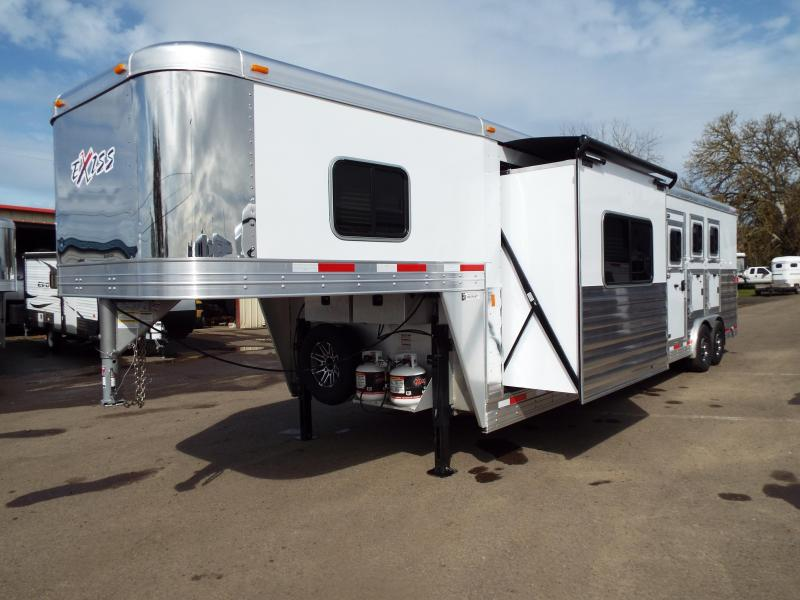 2017 Exiss 8314 - 3 Horse - 14' SW LQ w/ Slide Out All Aluminum Horse Trailer - Stud Wall Divider - Pre Wired for Generator -Dinette and Sofa!