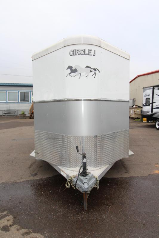 2013 Circle J Lightning 7 - 2 Horse Straight Load Horse Trailer - Dual Escape Doors - Fully Enclosed Tack Room