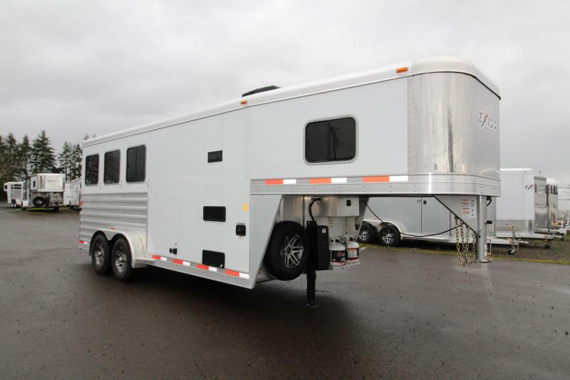 "2018 Exiss 7304 - 4'6"" SW LQ 3 Horse All Aluminum Trailer - Power Awning - Stud Wall - Easy Care Flooring - Air Flow Dividers"