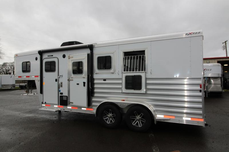 """2018 Exiss 7304 - 4'6"""" SW LQ 3 Horse All Aluminum Trailer - Power Awning - Stud Wall - Easy Care Flooring - Air Flow Dividers"""