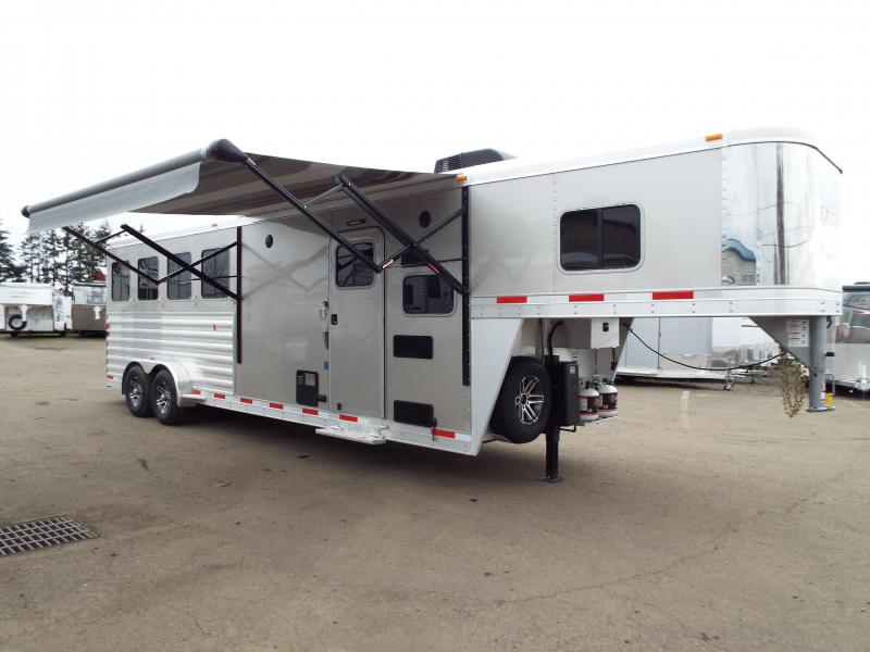 "2017 Exiss 7408 8'6"" SW LQ 4 Horse All Aluminum Trailer - 7'8"" Tall - Power Awning - Aluminum Wheels"