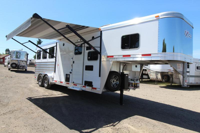 2017 Exiss Escape 7308 - Polylast Flooring - Stud Panel - Dinette - 3 Horse Living Quarters Trailer
