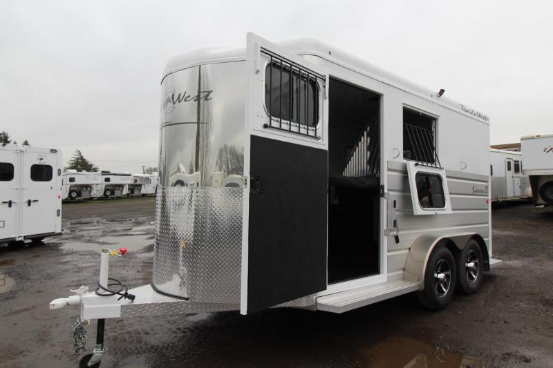 2018 Trails West Sierra II - 2 Horse Warmblood Trailer - Aluminum Skin Steel Frame - Swing out saddle rack