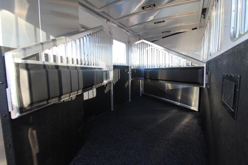 """2018 Exiss 7400 - 7'6"""" Tall 4 Horse Trailer - Rear Tack - Polylast Flooring - Jail Bar Dividers"""