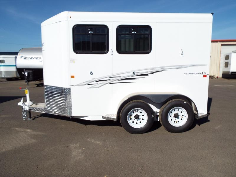 "2017 Trails West Adventure MX II Aluminum Skin 7' Tall 6'9"" Wide 2 Horse Trailer - Windows in Rear Doors"