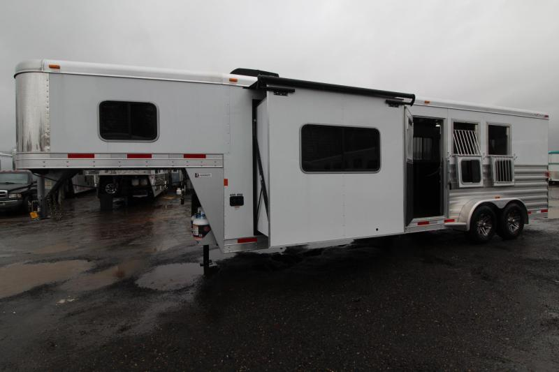 2018 Exiss Escape 7310 w/ Slide out Living Quarters 3 Horse Trailer - Polylast Flooring