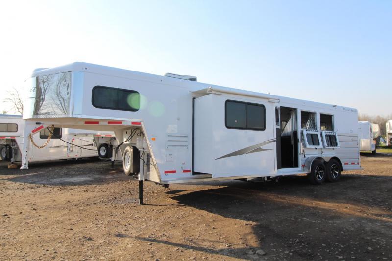 2018 Trails Sierra 12x12 Living Quarters 3 Horse Trailer W/ Slide out - Hoof Grip Easy Care Flooring