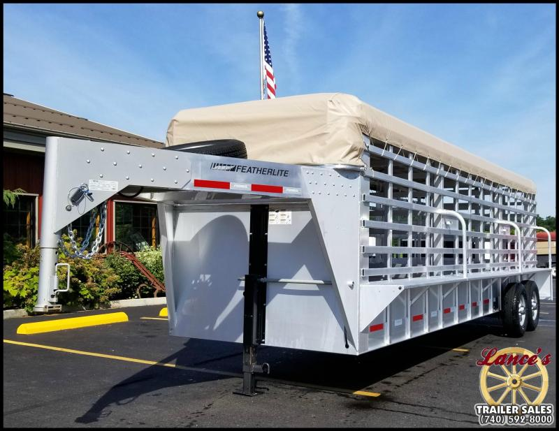 2017 Featherlite 8127 24u0027 Roll Top Livestock Trailer W/Canvas Roof Cover