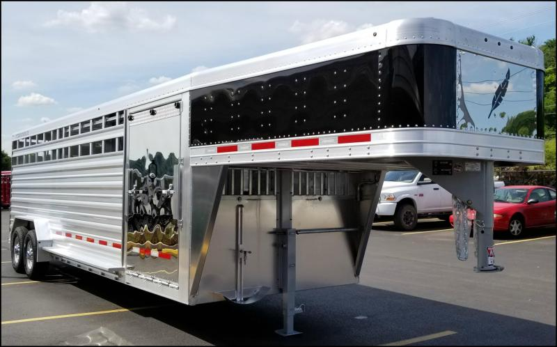 2018 Featherlite 8127 7x24 Show Cattle Trailer w/Stainless Front & Ramp