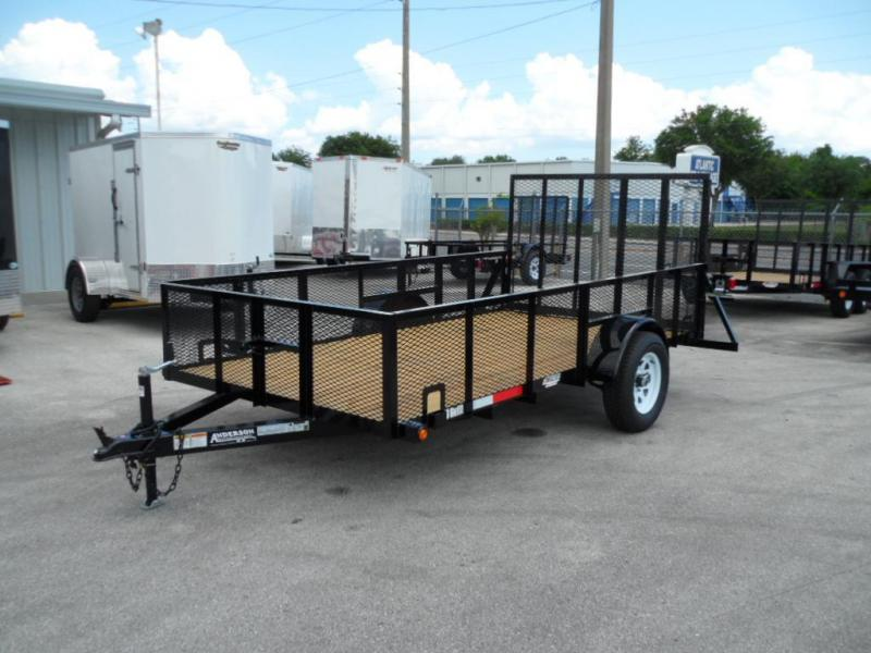 2017 6 x 12  Open Utility with Two Foot Mesh Side by Anderson Mfg