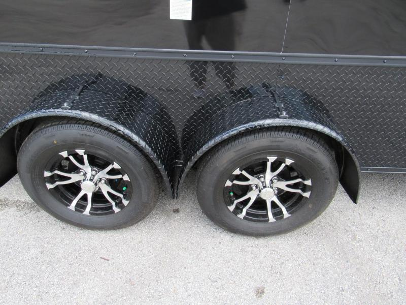 2019 7x16 BLACK OUT FINISHED MOTORCYCLE PACKAGE TRAILER