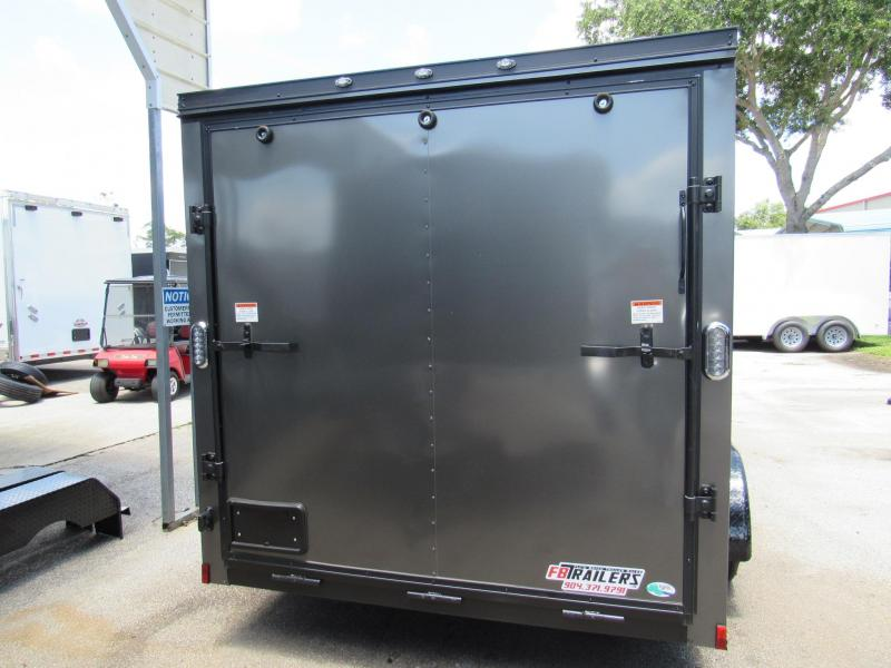 2019 Continental Cargo 7X14 CHARCOAL WITH BLACK OUT TRIM Enclosed Cargo Trailer