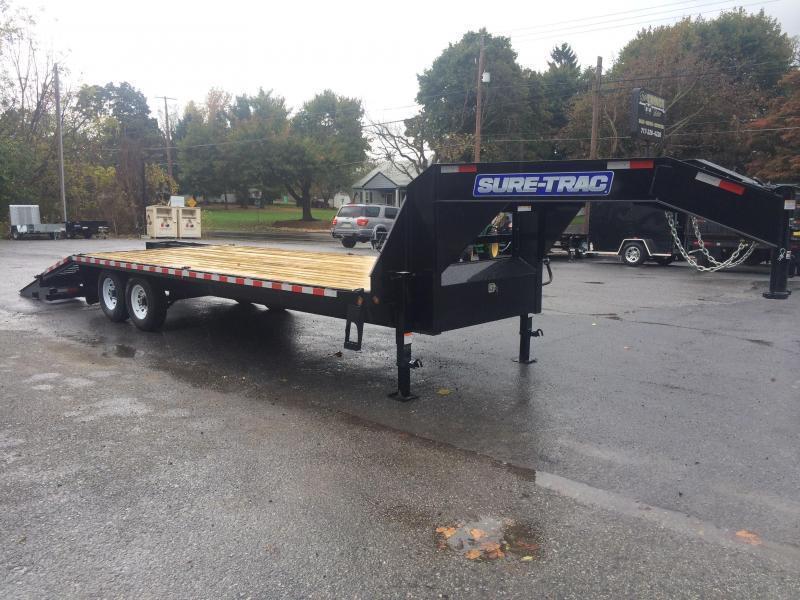2018 Sure-Trac 102x20+5 17600# Gooseneck Beavertail Deckover Trailer PIERCED FRAME 8000# AXLE UPGRADE