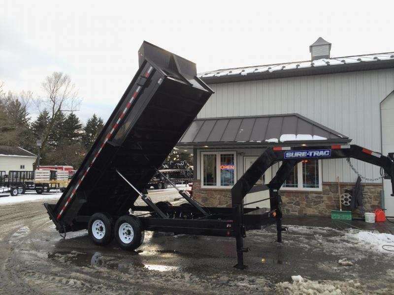 2017 Sure-Trac 7x14' 14000# Low Profile HD GOOSENECK Dump Trailer - TELESCOPIC HOIST