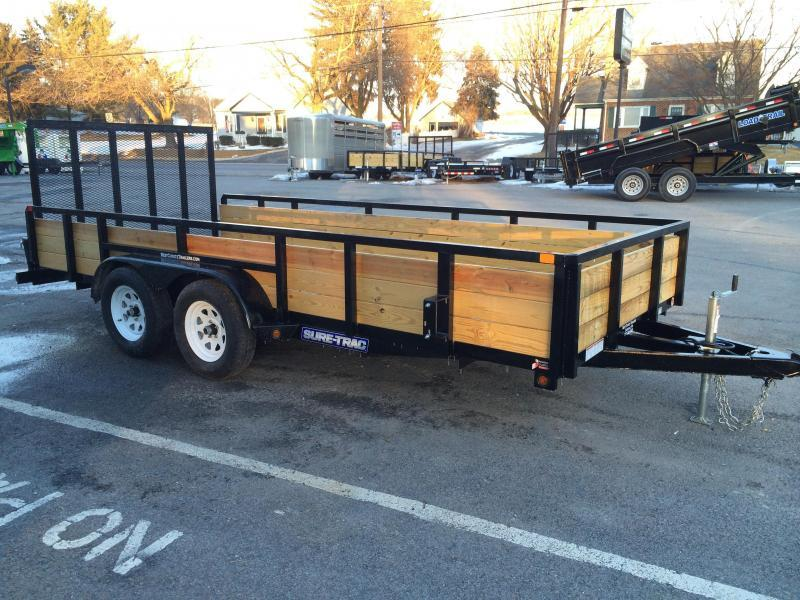 2017 Sure-Trac 7x14' Tube Top Three Board High Side Landscape Utility Trailer 7000# GVW - ALUMINUM WHEELS