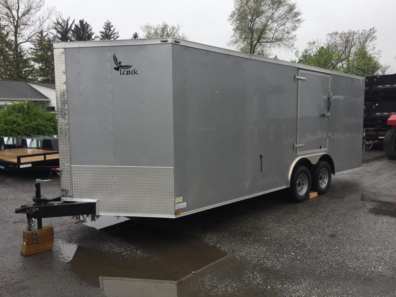 2017 Lark 8.5x20 V-Nose Enclosed Car Hauler 7000# GVW - ESCAPE DOOR