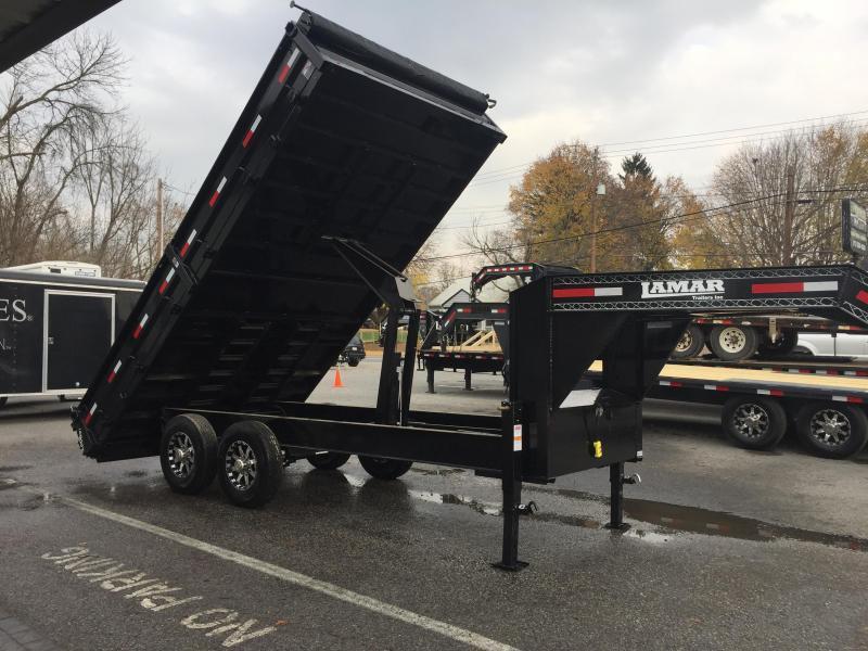 2017 Lamar 8x16' 14000# Gooseneck Deckover Hydraulic Dump Trailer Fold down sides