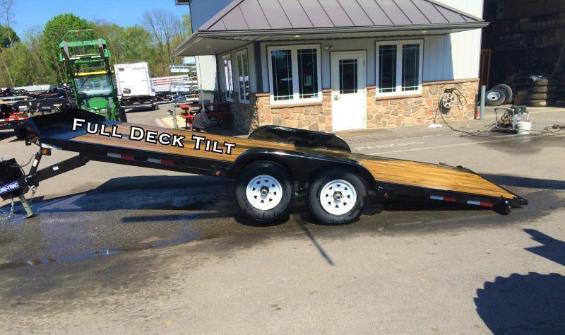 2017 Sure-Trac 7x20' 9900# POWER Tilt Wood Deck Car Hauler