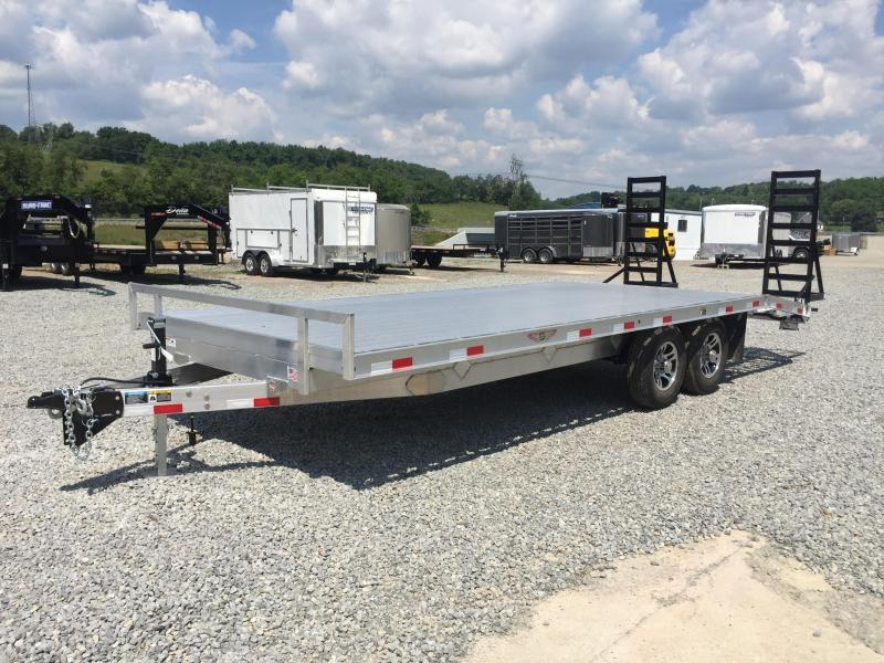 2018 H&H 102x16+4 9990# Aluminum Deckover Equipment Trailer STAND UP RAMPS TORSION AXLES