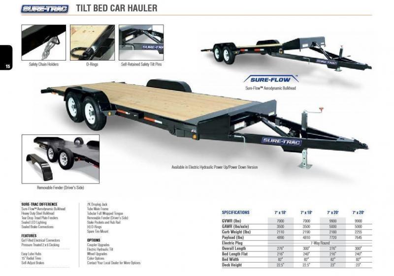 2018 Sure-Trac 7x20' 9900# Manual Tilt Wood Deck Car Hauler