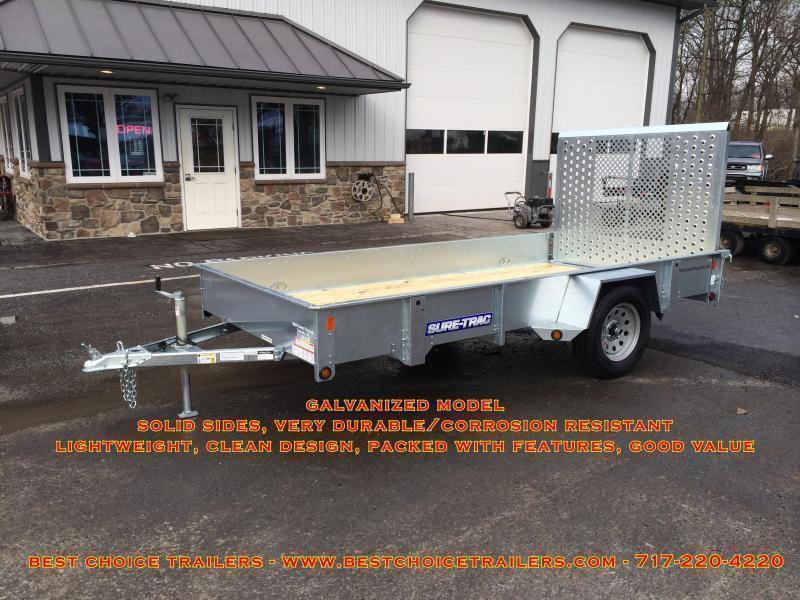 2018 Sure-Trac 7x14' Tube Top Utility Trailer 2990# GVW - ATV RAMPS