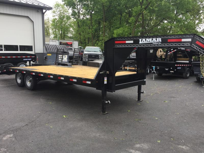 2017 Lamar 102x24' 14000# Gooseneck Deckover Equipment Trailer FLIPOVER RAMPS