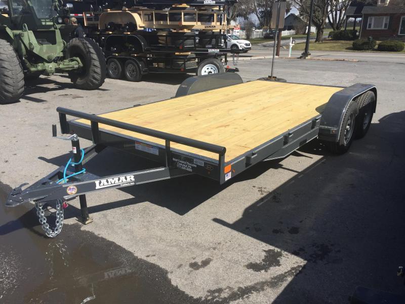 2018 Lamar 7x18' CE Wood Deck Car Trailer 7000# GVW - GRAY