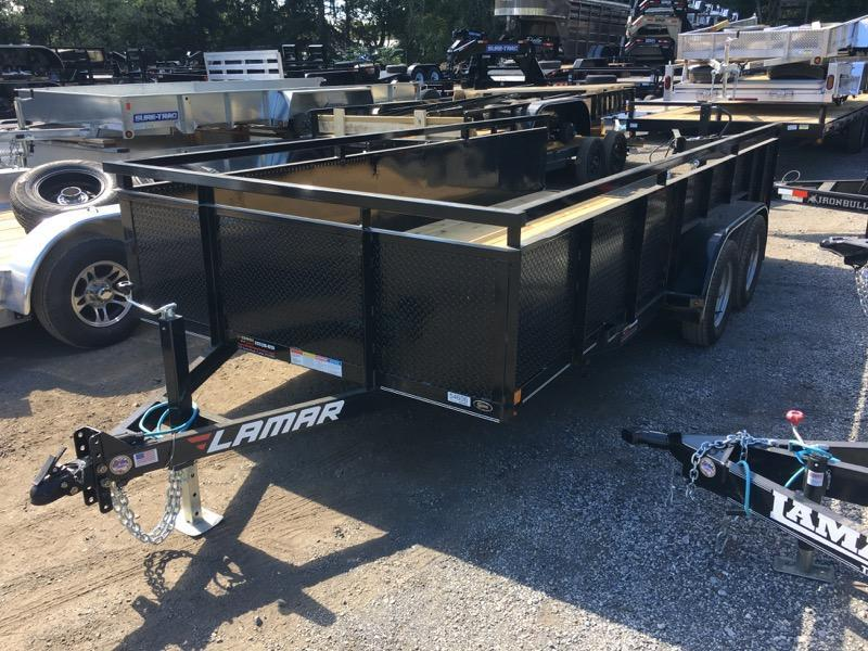 2018 Lamar 7x16' Utility Trailer 7000# GVW 2' STEEL SIDES PIPE TOP ADJUSTABLE COUPLER