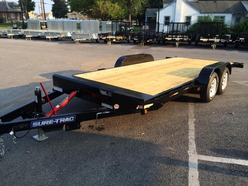 2017 Sure Trac 7x18 7000 Manual Tilt Wood Deck Car Hauler Best