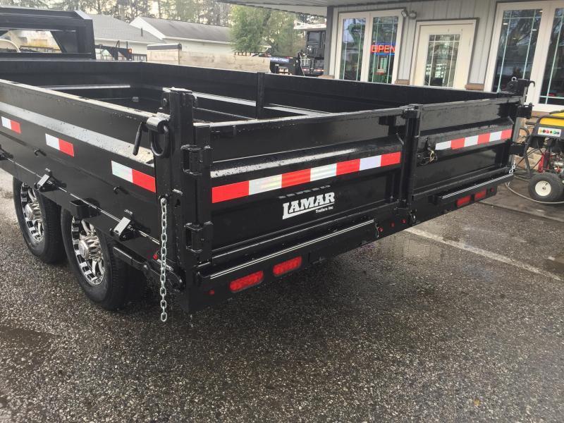 2018 Lamar 8x16' Gooseneck Deckover Dump Trailer 14000# GVW - FOLD DOWN SIDES - GRAY