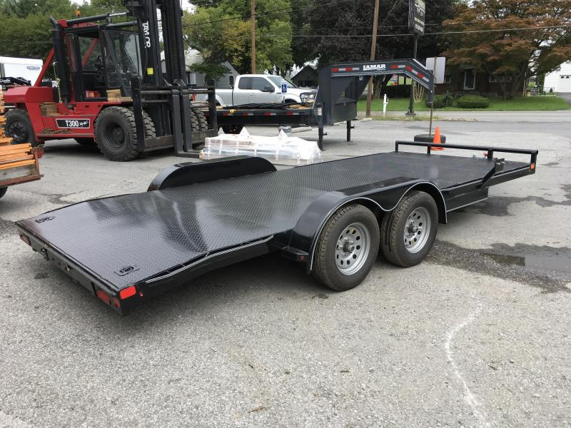 2017 Lamar CC 7x18' 7000# Car Hauler STEEL FLOOR D-RINGS 4' DOVETAIL LOW LOAD ANGLE